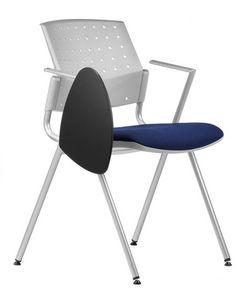 NESTING DELFIBRIO 065 TDX, Chaise avec assise rembourrée, base en métal, tablette écritoire