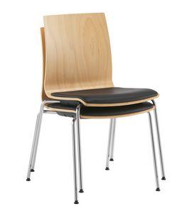 Q2 W, Chaise empilable avec coque en bois et assise rembourrée