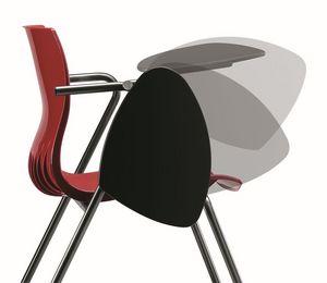 WEBBY 332 TDX, Chaise avec une base de métal, enveloppe polymère, tablette écritoire