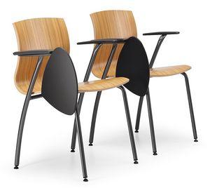 WEBWOOD 358 TDX, Chaise en métal et contreplaqué, avec tablette