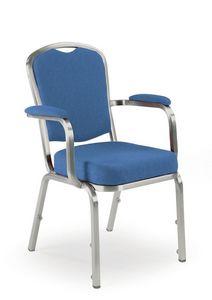Fiora 60/5A, Chaise avec accoudoirs, banquet et de conférence, empilable