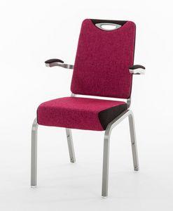 Inicio 09/1HA, Chaise de conférence avec accoudoirs, empilable, rembourrage ignifuge
