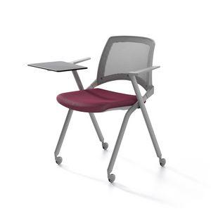 Oplà mesh, Chaise en métal, assise rembourrée, dossier en maille