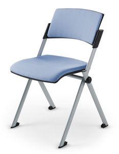 Comoda Soft 01, Chaise empilable rembourrée en polyuréthane pour les salles de conférence