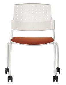 NESTING DELFIBRIO 063 R, Chaise en métal avec assise rembourrée avec roues