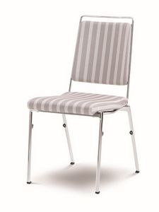 Evosa Congress 08/5, Chaise empilable en acier chromé, assise ignifuge, dos anatomique, pour les salles de conférence