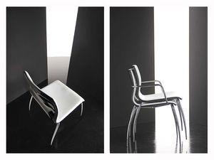 Miss 4 legs, Chaise avec coque en contreplaqué revêtu, pieds chromés