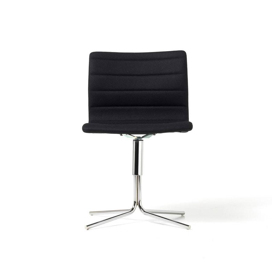 Miss, Chaise pivotante avec base en acier, divers revêtements