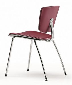 VEKTATOP 120, Chaise en m�tal empilable, si�ge recouvert de cuir