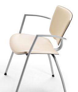 VEKTATOP 121, Chaise en métal avec accoudoirs, revêtement en cuir