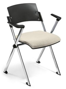Comoda 02, Chaise empilable, siège rabattable, avec accoudoirs