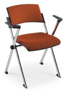 Comoda Soft 02, Chaise empilable avec accoudoirs, en acier, pour les salles de conférence