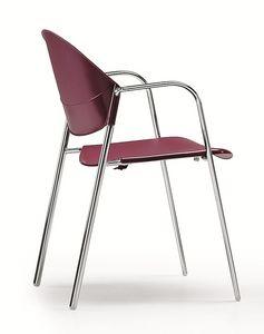 DELFI 085, Chaise empilable avec assise et dossier en copolymère