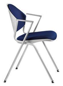 NESTING DELFI 089 S, Chaise en métal empilable avec siège rembourré