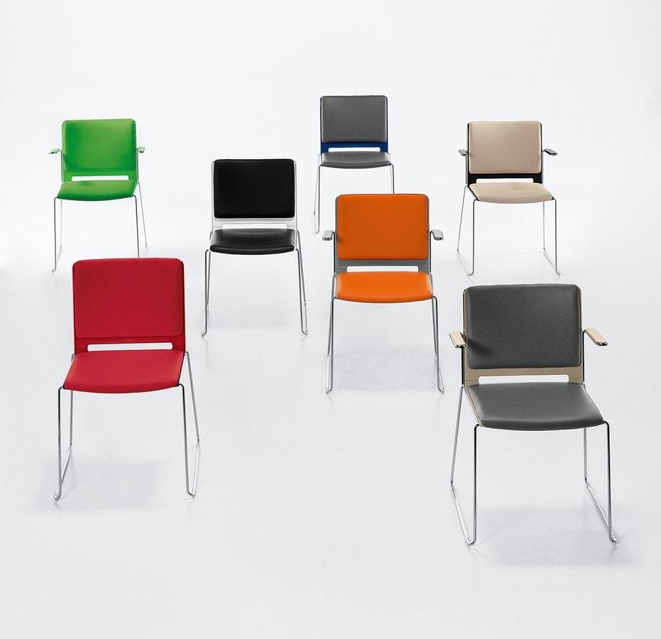 Easy Soft, Chaise empilable rembourrée avec accoudoirs, base en acier