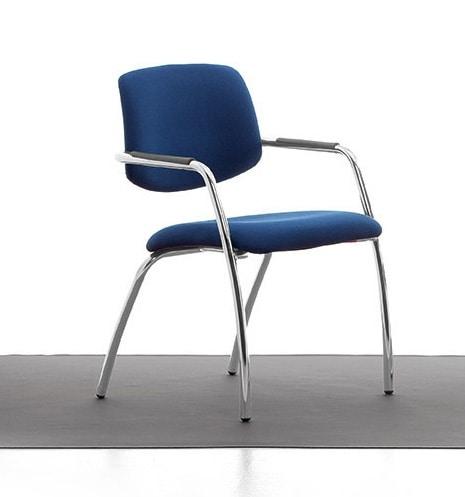 Samba 02, Chaise en métal chromé, assise et dossier rembourrés, pour le bureau