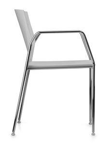TREK 038, Chaise avec base en métal chromé, assise et dossier en polymère