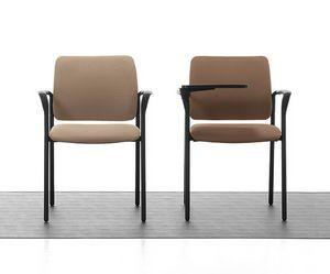 Urban Soft 02, Chaise empilable rembourrée avec accoudoirs pour salle de réunion