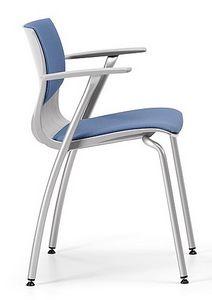 WEBBY 338 S, Chaise en métal rembourré avec accoudoirs, pour les conférences
