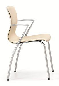 WEBTOP 384, Chaise en métal avec du cuir siège rembourré