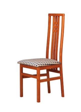 301, Chaise avec assise en tissu, dossier haut avec des lattes verticales
