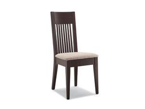 305, Chaise avec assise rembourrée, dossier à lattes verticales