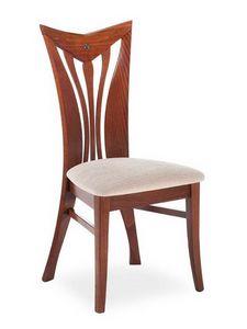 Button ST, Chaise élégante avec dossier à lattes verticales incurvées