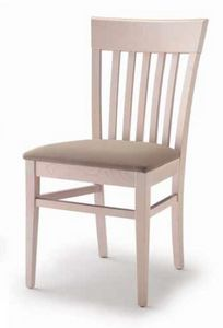Cinzia, Chaise de salle à manger en bois, avec assise rembourrée