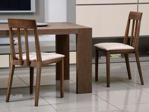 Compléments Chaise 01, Chaise en bois, assise rembourrée, dossier à lattes verticales