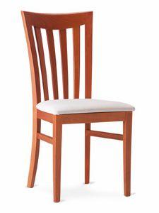 DEMETRA, Chaise en bois avec dossier à lattes verticales