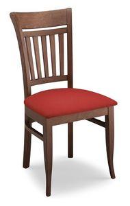 Gloria ST, Chaise en bois de hêtre, dossier à lattes verticales