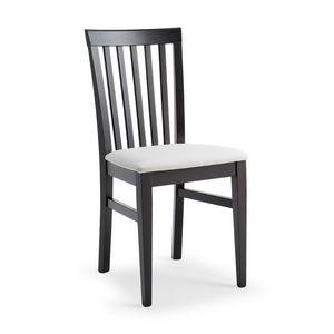 Kim, Chaise en bois, dossier avec lamelles verticales motif