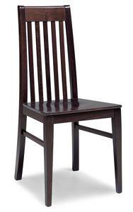 SE 490 / F, Chaise en hêtre massif, lames verticales arrière