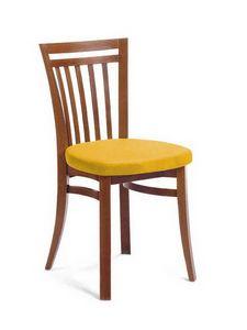 Sofia, Chaise en hêtre avec assise rembourrée, pour salons