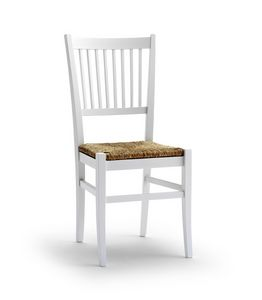 TIFFANY, Chaise avec siège en paille et dossier design vertical