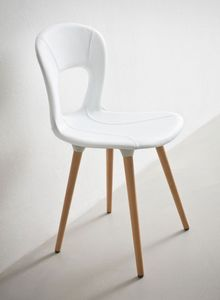 Blog UPH BL, Chaise empilable, base de hêtre, coquille de cuir