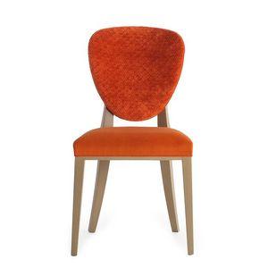 Cammeo 02611, Chaise en bois massif, assise et dossier rembourrés, revêtement en tissu, style moderne