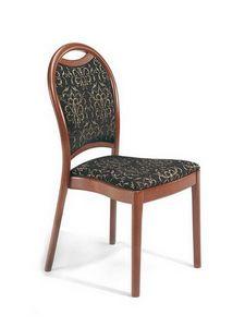 Desiree S, Chaise en bois rembourrée avec dossier incurvé