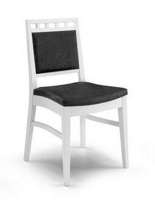 Gaia I, Chaise en bois moderne rembourrée, pour le salon