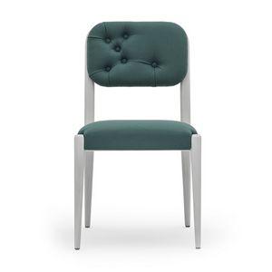 Garbo 03111K, Chaise moderne en bois massif avec dossier tufté