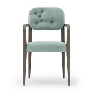 Garbo 03121K, Chaise moderne en bois avec accoudoirs, avec dossier rembourré
