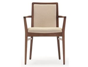 Godiva-P1, Chaise en bois avec accoudoirs, rembourrée