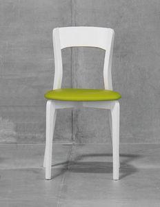 ISOTTA, Chaise avec siège rembourré, structure de frêne ou de hêtre