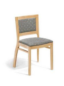 Jessica I, Chaise rembourrée en bois massif, personnalisable
