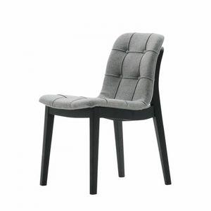 Light 03211K, Chaise moderne en bois massif, avec coque matelassée