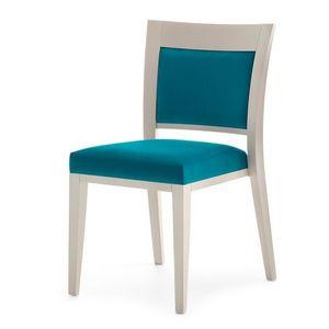 Logica 00917, Chaise empilable, assise et dossier rembourrés, structure en bois