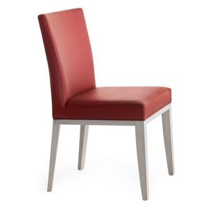 Logica 00934, Chaise en bois massif, assise et dossier rembourrés, revêtement en cuir, pour l'usage de contrat