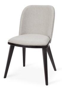 Lola S, Chaise moderne en bois de hêtre, assise et dossier rembourrés