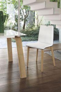 LOSANNA SE05, Chaise avec structure en bois massif, assise et dossier rembourrés, pour un style moderne