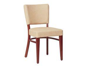Marsiglia/S, Chaise en bois pour le salon, avec assise et dossier